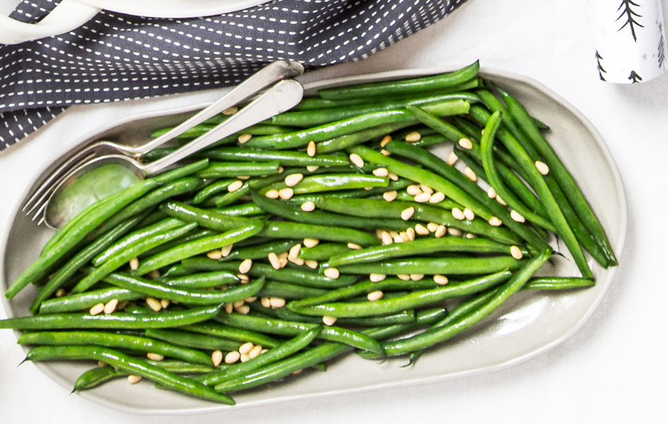 Green Beans with Caramelised Onions and Roasted Pine Nuts