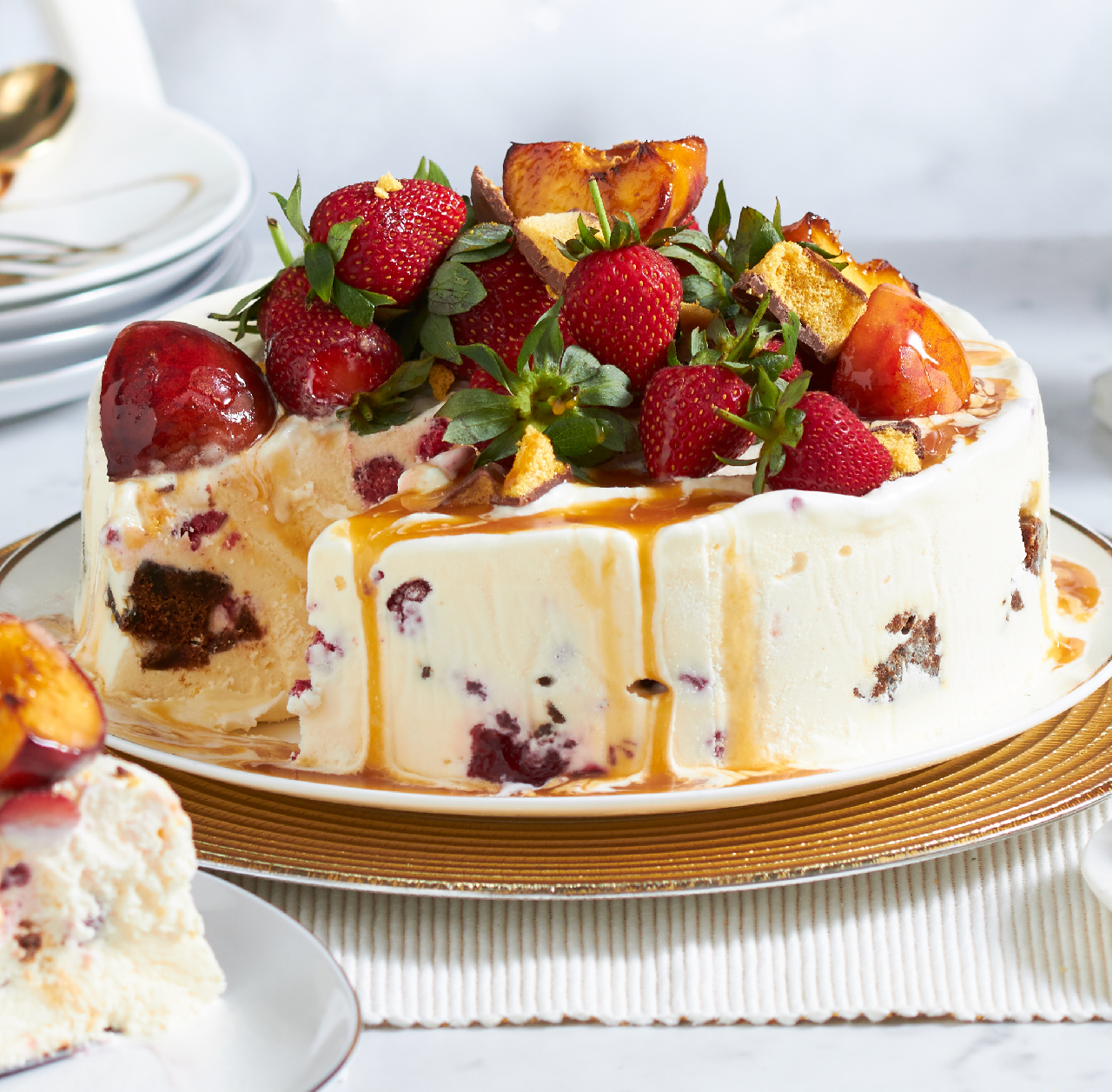 Christmas ice cream cake with berries and caramelised peaches recipe